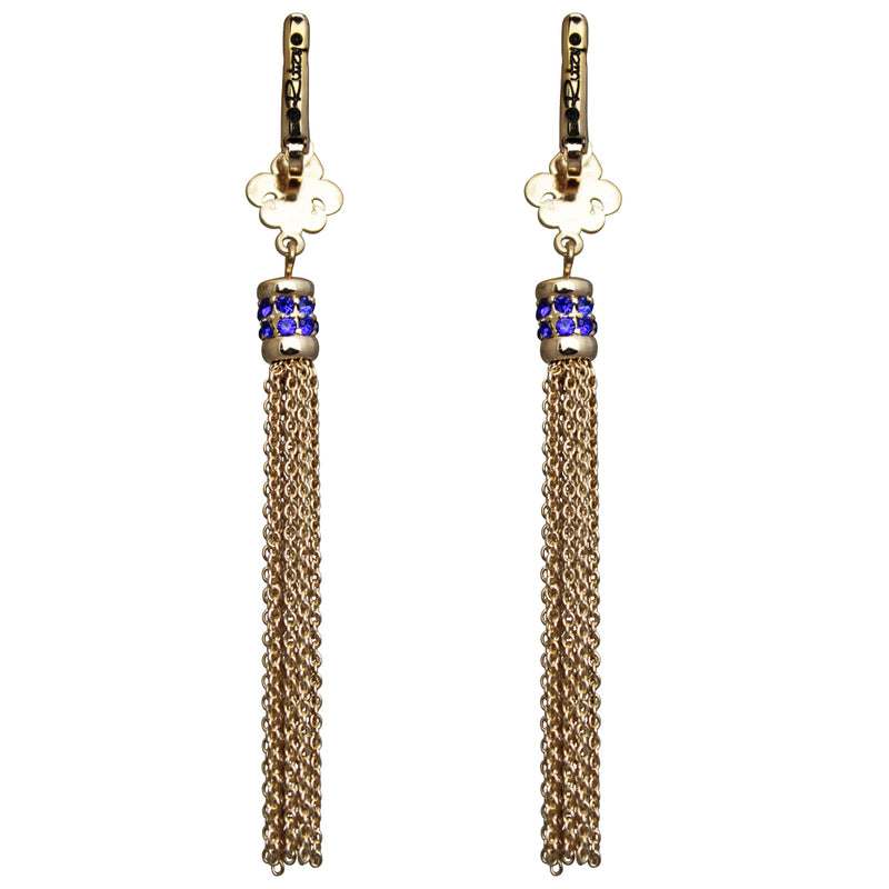 Fleur de Lis Capri Blue Tassel Jewelry Earrings - Back Side