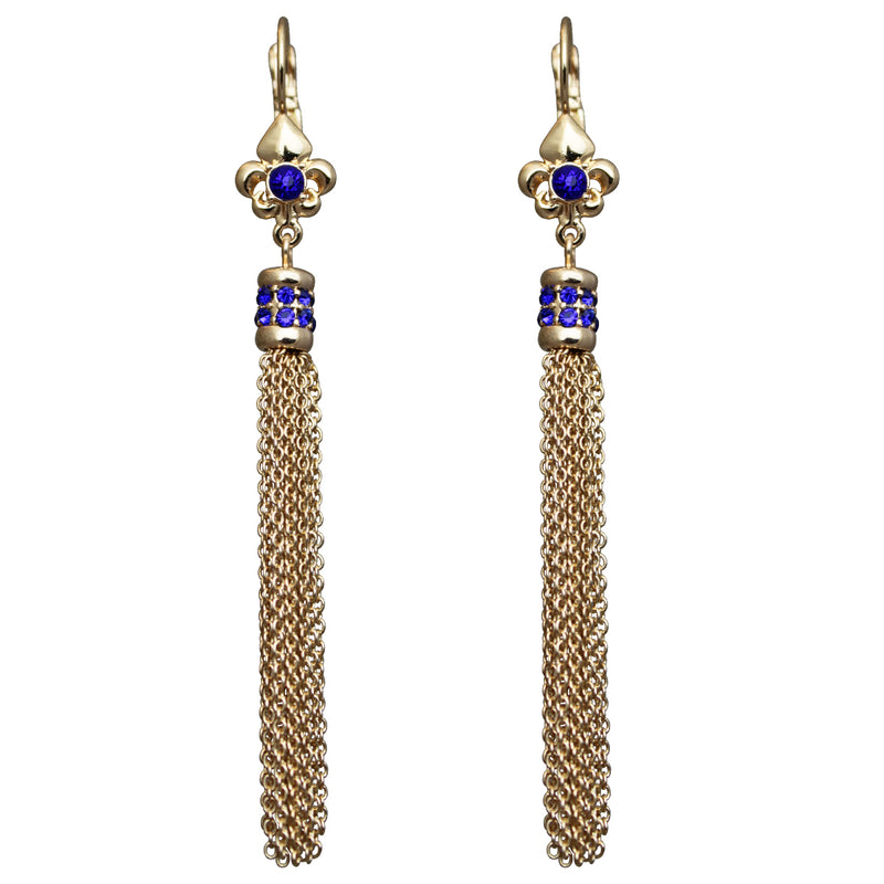 Fleur de Lis Capri Blue Tassel Jewelry Earrings