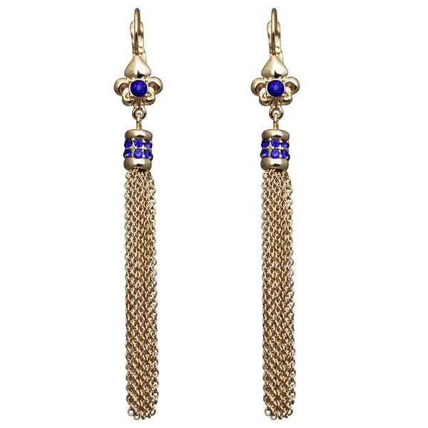 Fleur-de-lis Capri Blue Tassel Leverback Earrings (Goldtone) Ritzy Couture