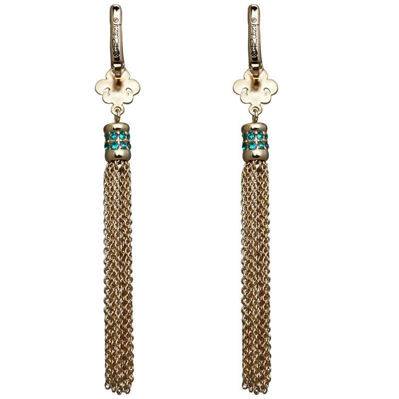 Fleur de Lis Blue Zircon Tassel Earrings - Back Side