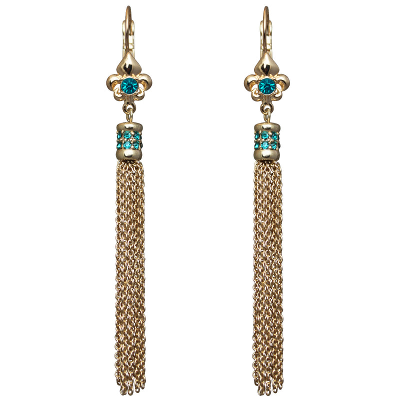 Fleur de Lis Blue Zircon Tassel Earrings