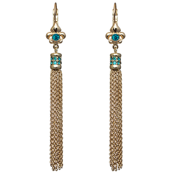 Fleur-de-lis Blue Zircon Tassel Leverback Earrings (Goldtone) Ritzy Couture