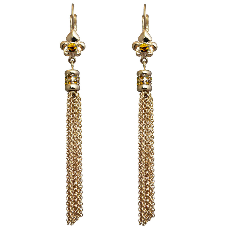 Fleur de Lis Topaz Tassel Jewelry Earrings