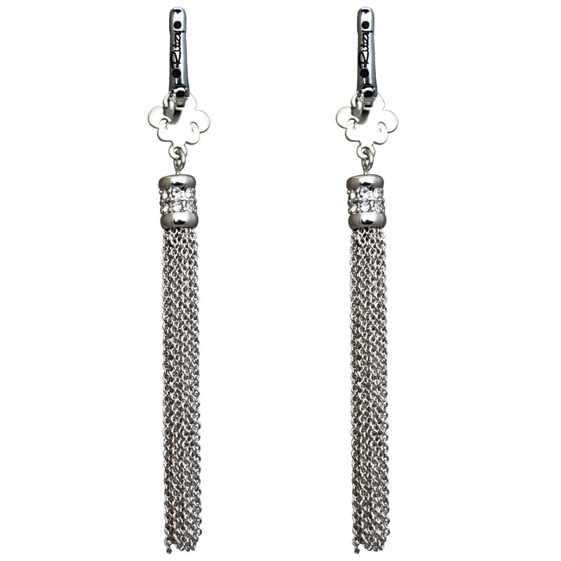 Fleur de Lis Crystal Silver Tassel Jewelry Earrings - Back Side