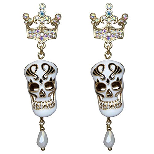 """Skeleton King"" Skull & Crown Crystal AB Halloween Earrings (Goldtone) Ritzy Couture"