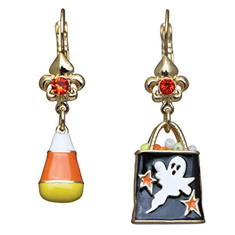 """Candy Corn & Trick or Treat"" Halloween Asymmetrical Leverback Earrings (Goldtone) Ritzy Couture"