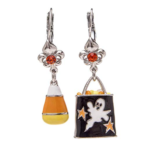 Ritzy Couture Halloween (Silvertone) Earrings Candy Corn & Trick or Treat Asymmetrical Leverback Women's Jewelry