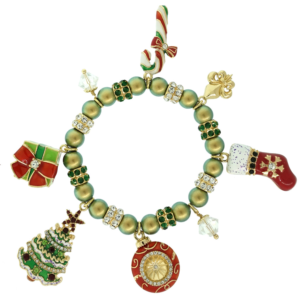christmas cheer charms iridescent green swarovski pearl adjustable stretch bracelet ritzy couture - Christmas Charms
