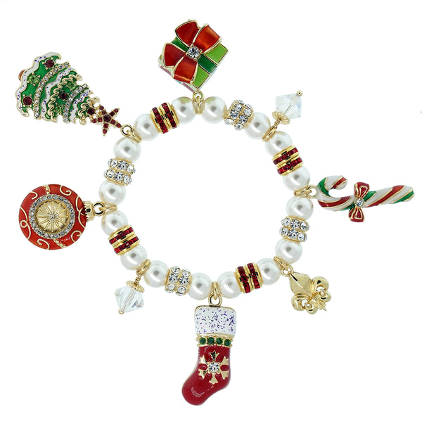Christmas Cheer Charms & White Swarovski Pearl Adjustable Stretch Bracelet Ritzy Couture