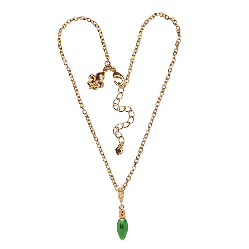Ritzy Couture Green Christmas Lights and Swarovski Crystal Enhancer Charm (Goldtone)