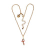 Ritzy Couture Christmas Candy Cane & Ribbon Swarovski Enhancer Charm (Goldtone)