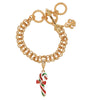 Christmas Candy Cane & Ribbon Enhancer Charm by Ritzy Couture DeLuxe - 18k Gold Layered Brass