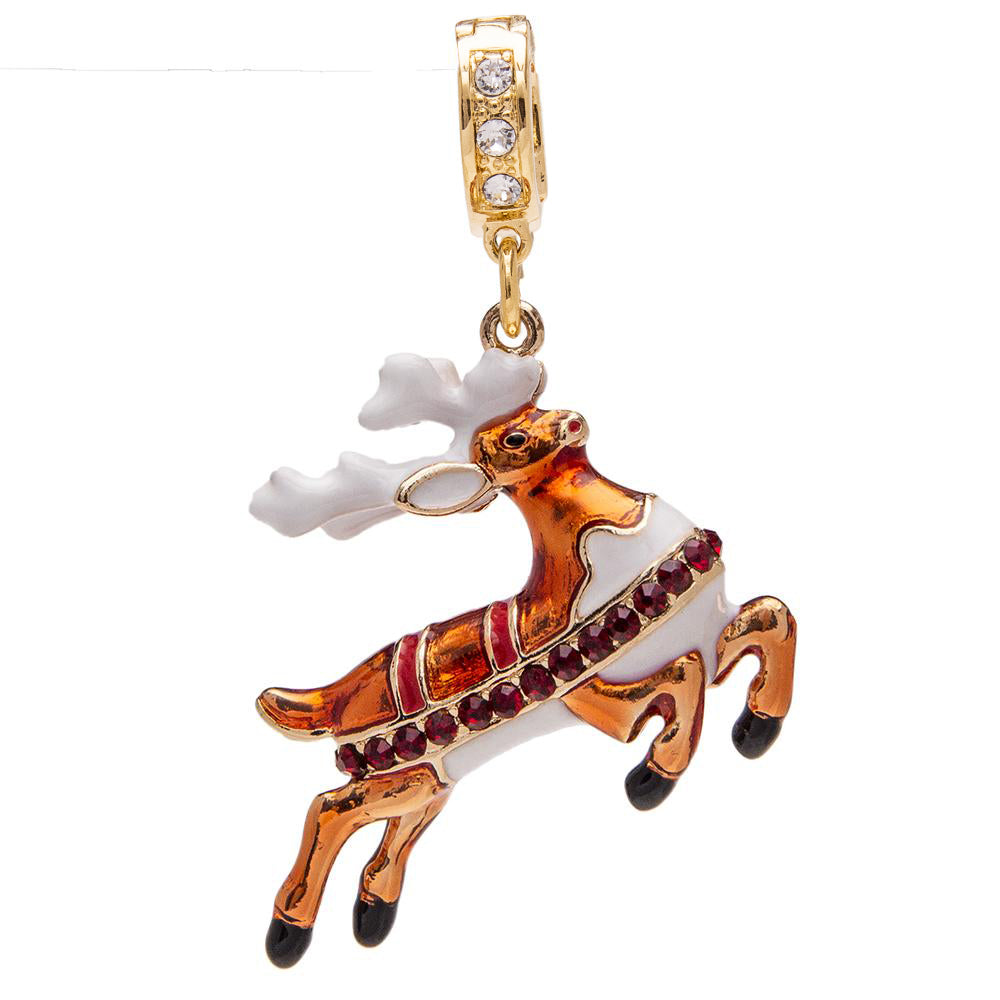 Ritzy Couture Christmas Reindeer Enhancer Charm (Goldtone)
