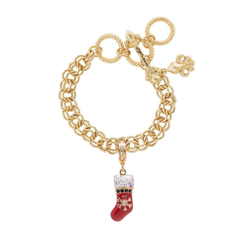 Ritzy Couture Christmas Stocking Charm with Swarovski Crystals Enhancer Charm (Goldtone)