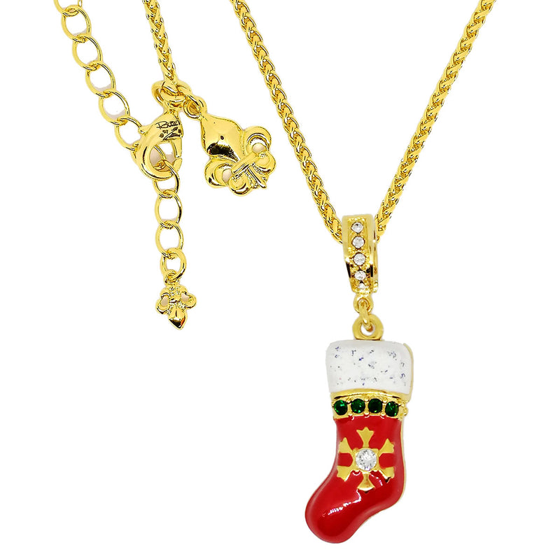Christmas Stocking Charm with Sparkling Crystals Enhancer Charm by Ritzy Couture Deluxe - 18k Gold Coated Brass