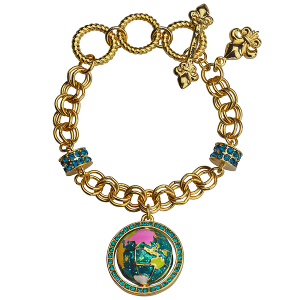 """World Around Us"" Spinning Earth Globe Travel Adjustable Charm Bracelet (Goldtone) Ritzy Couture"