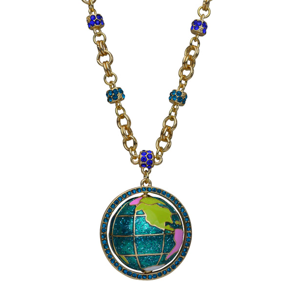 """World Around Us"" Spinning Earth Globe Travel Adjustable (Goldtone) Necklace by Ritzy Couture"