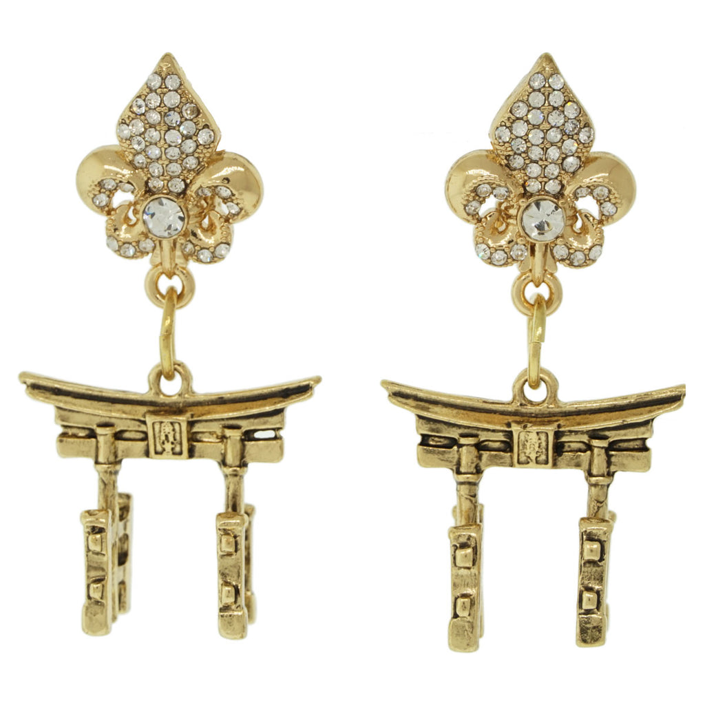 Ritzy Couture Torii Gates Japanese Spiritual Travel Earrings (Antique Goldtone) Ritzy Couture