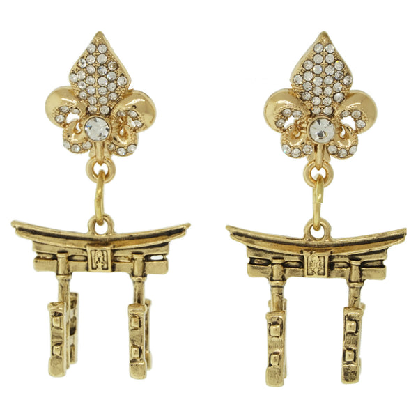 Torii Gates Japanese Spiritual Travel Earrings (Antique Goldtone) Ritzy Couture