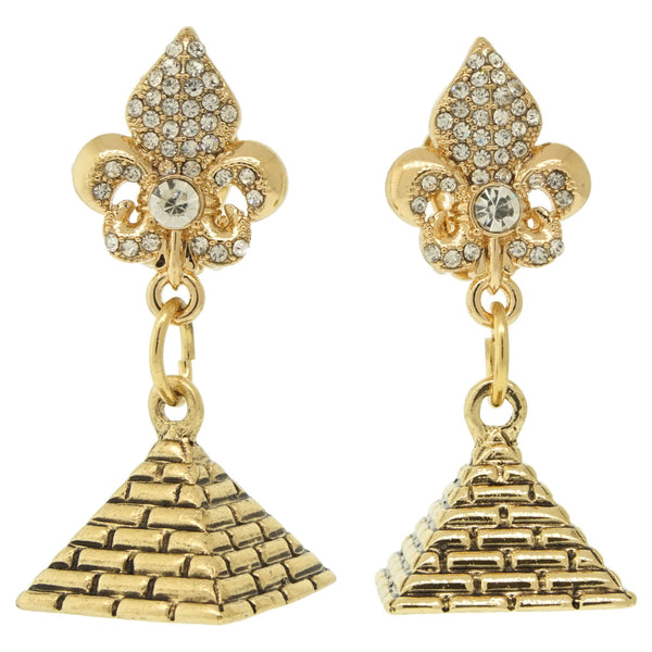 World Wonder Pyramid of Giza Travel Earrings (Antique Goldtone) Ritzy Couture