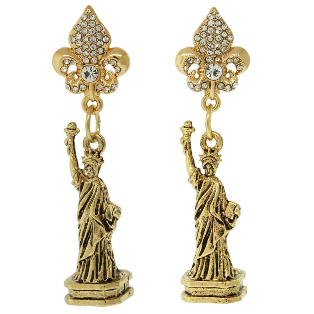 Ritzy Couture Statue of Liberty Travel Dangel Earrings (Antique Goldtone)