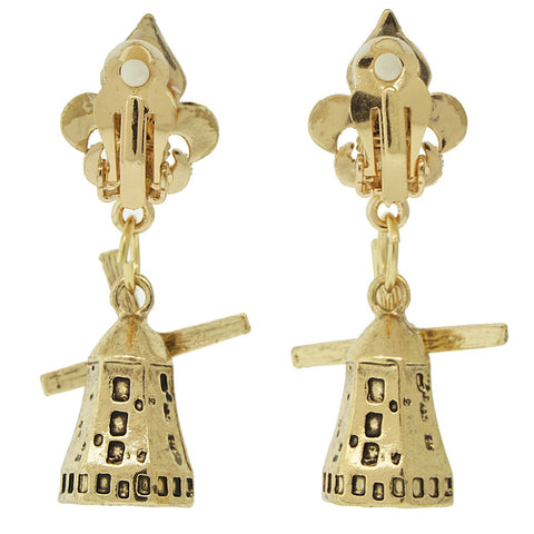 Netherlands Rotating Windmill Travel Earrings (Antique Goldtone) Ritzy Couture