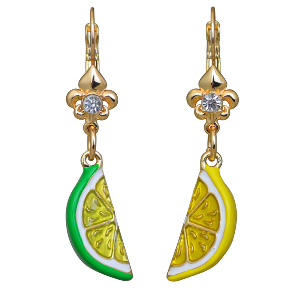 Citrus Fruit Lemon & Lime Juicy Leverback Earrings (Goldtone) Ritzy Couture
