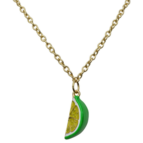 "Citrus Fruit Lemon & Lime Juicy 18"" Necklace with 3"" Extender (Goldtone) Ritzy Couture"