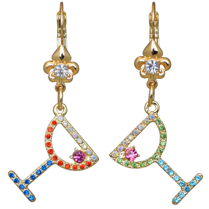 Pave Crystal Margarita Cocktail Earrings For Women