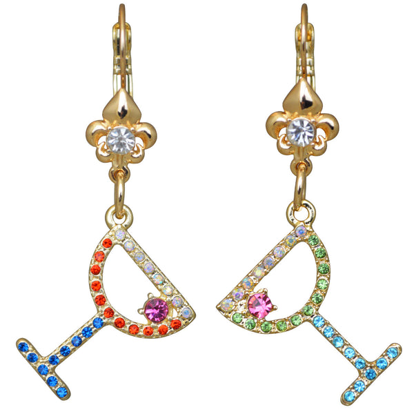 Pave Crystal Margarita Cosmo Cocktails with Fleur-de-Lis Leverback Earrings (Goldtone) Ritzy Couture
