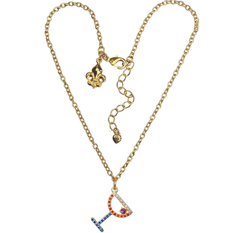 "Pave Crystal Red Cosmo Pool Party Charm 16"" with Extender Necklace (Goldtone) Ritzy Couture"