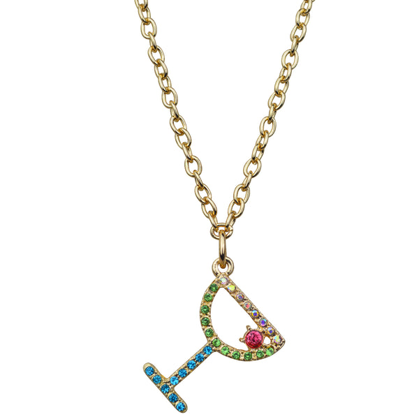 "Pave Crystal Margarita Cocktail Charm 16"" with Extender Necklace (Goldtone) Ritzy Couture"