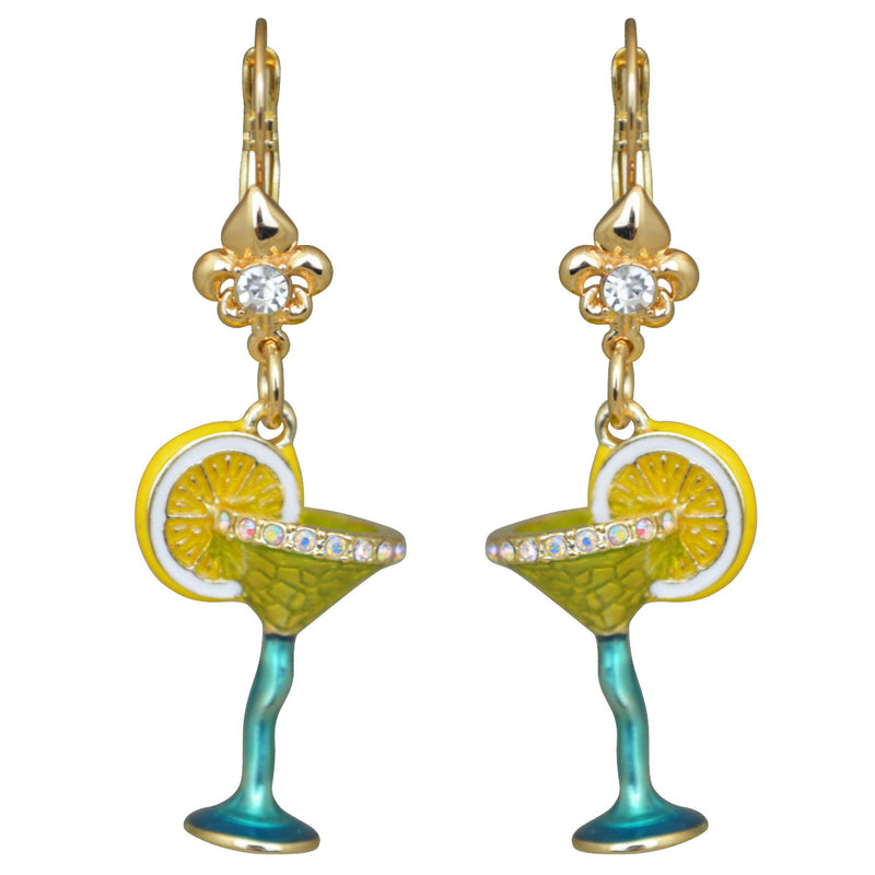 Pool Party Cocktail Glass Multi Color Earrings For Women - Green Color