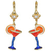 Pool Party Cocktail Glass Multi Color Earrings For Women - Red Color