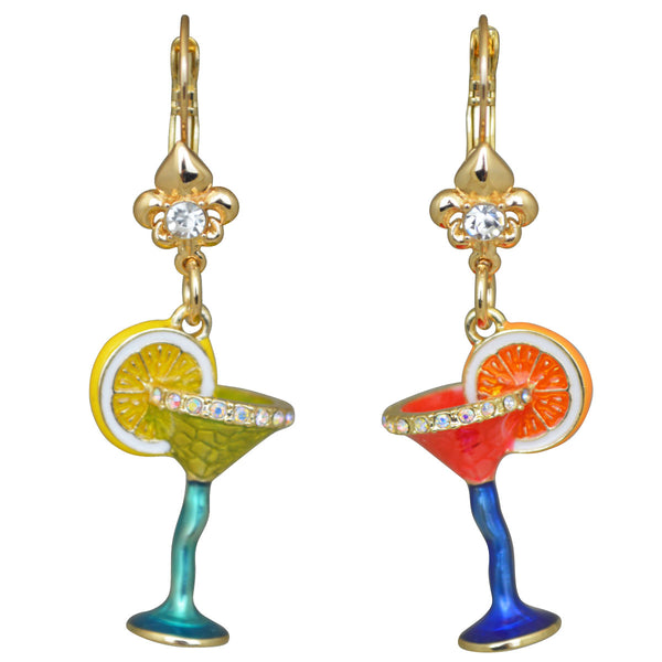 Pool Party Cocktail Glass Multi Color Leverback Earrings (Goldtone) Ritzy Couture