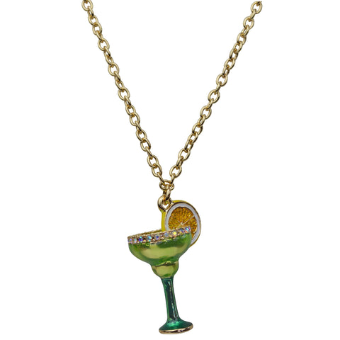 "Frozen Margarita Cocktail Charm 20"" with Extender Necklace (Goldtone) Ritzy Couture"
