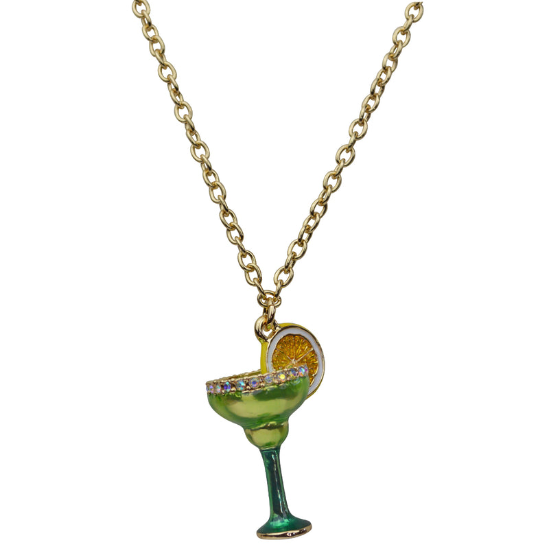 Triple Chain - Margarita Cocktail Charm Necklace Jewelry