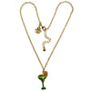 Frozen Margarita Cocktail Charm Necklace Jewelry - Front Side