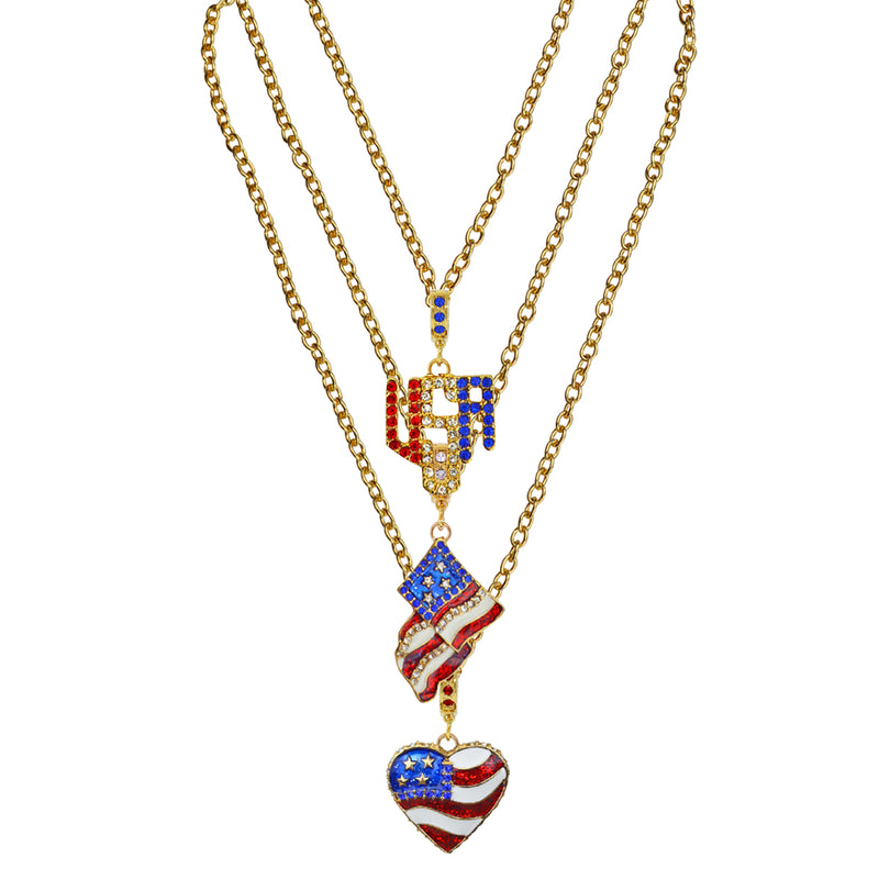American Flag Charm Necklace | American Necklace Jewelry | Pair Of Two Necklace
