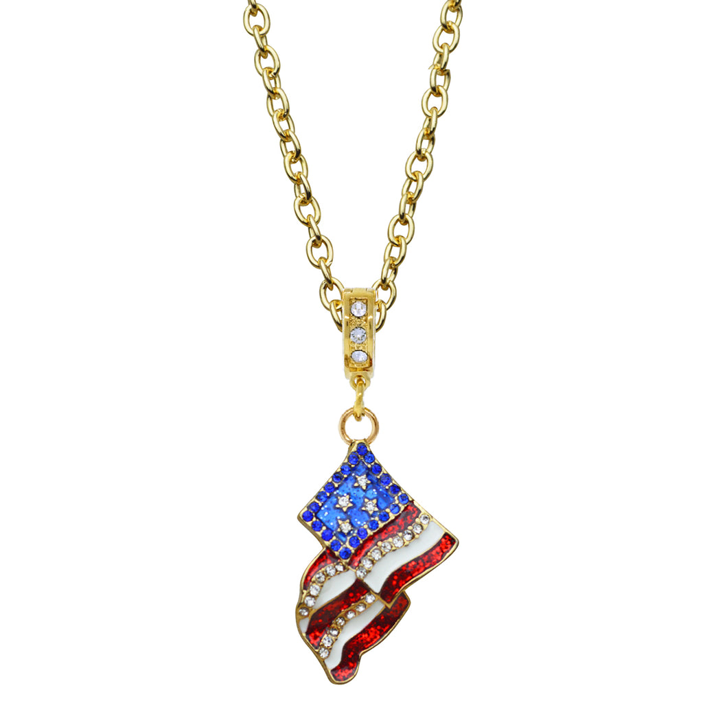 American Flag Charm Necklace | American Necklace Jewelry