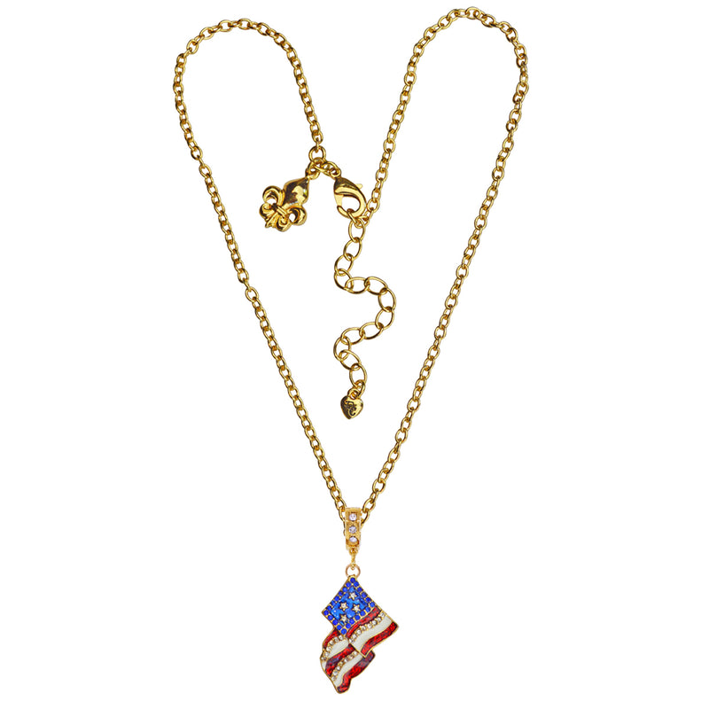 American Flag Charm Necklace - American Necklace Jewelry