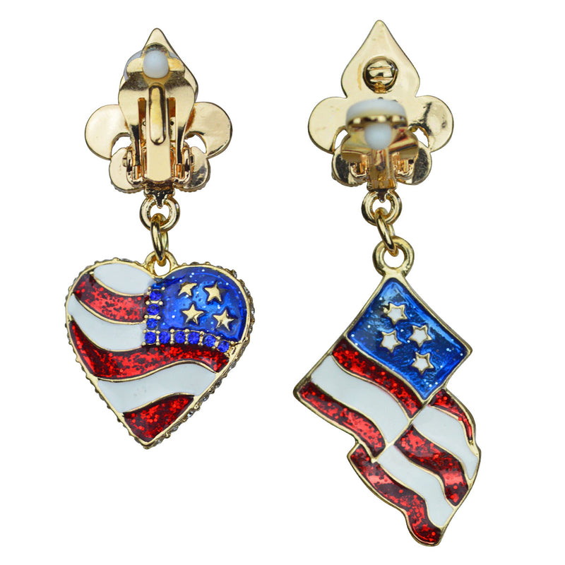 American Flag Multi Color Charm Earrings - Back Side