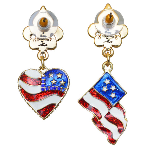 American Flag & Heart Red White & Blue Earrings (Goldtone) Ritzy Couture