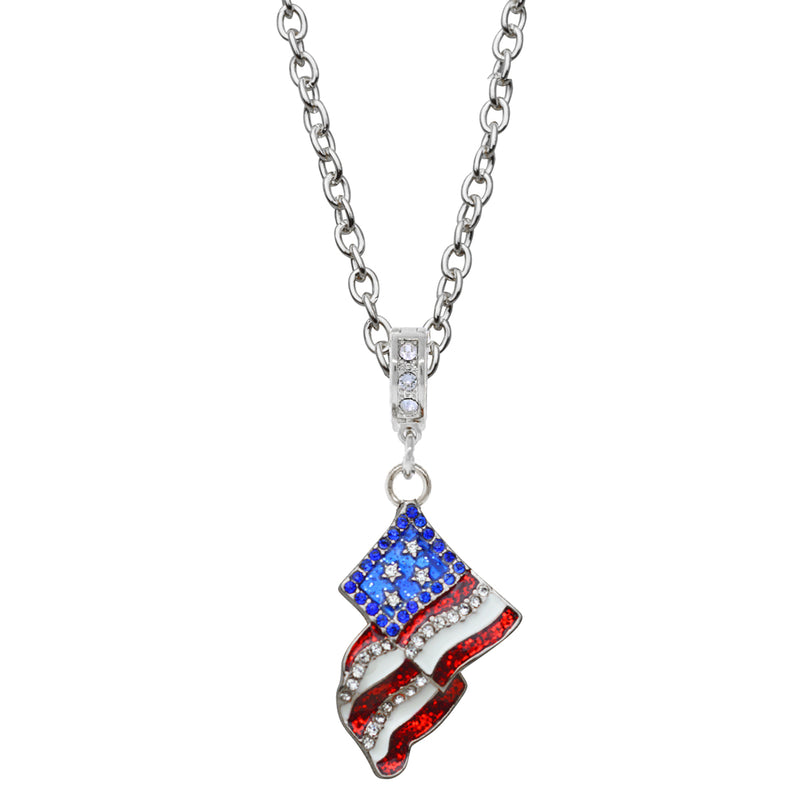 American Flag Pendant Necklace - American Necklace Jewelry