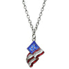 Triple Chain American Flag Necklace | American Jewelry | Front Side
