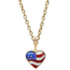 Ritzy Couture American Heart Flag Charm Pendant Necklace (Goldtone)