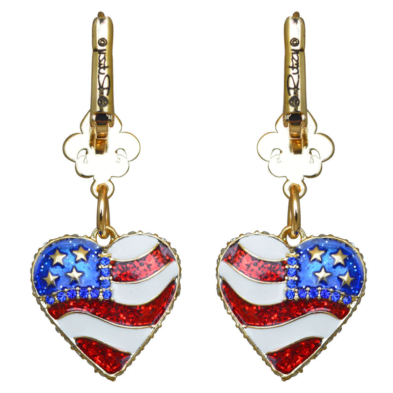 American Flag Heart Shaped Earrings | American Earrings