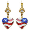 American Flag Heart Shaped Earrings - American Earrings