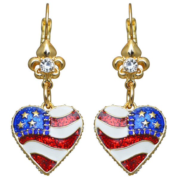 American Heart Flag & Crystal USA Red White & Blue Leverback Earrings (Goldtone) Ritzy Couture