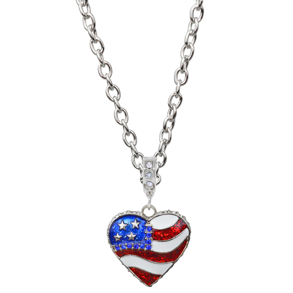 American Heart Flag Necklace | American Necklace Jewelry